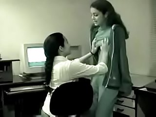 Three young Indian Lesbians have fun in the office