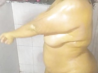 Wife taking bath